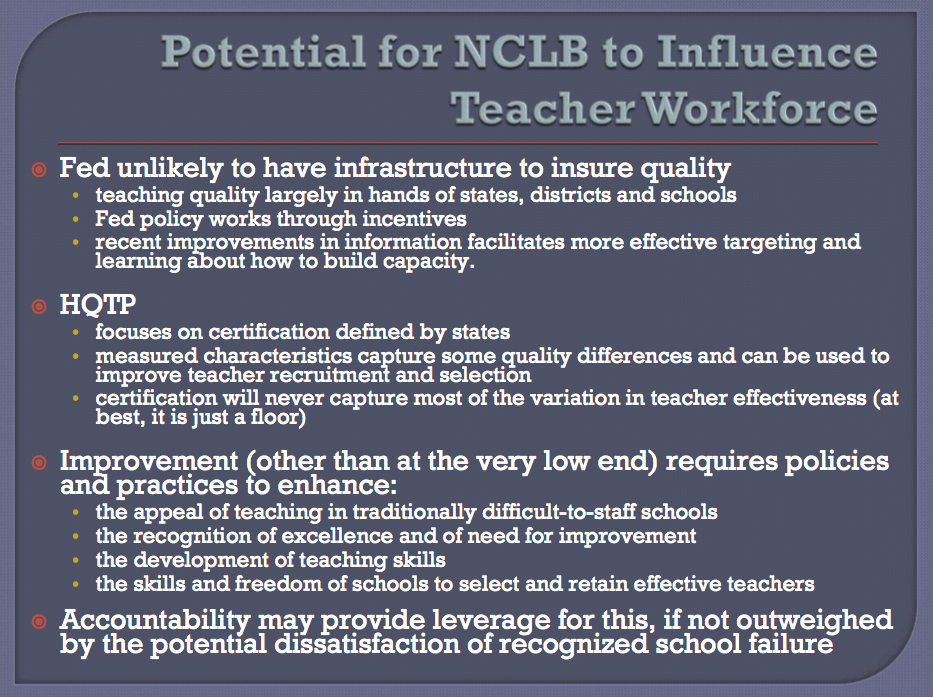 Susanna Loeb's reflections on NCLB impact and forward thinking views.